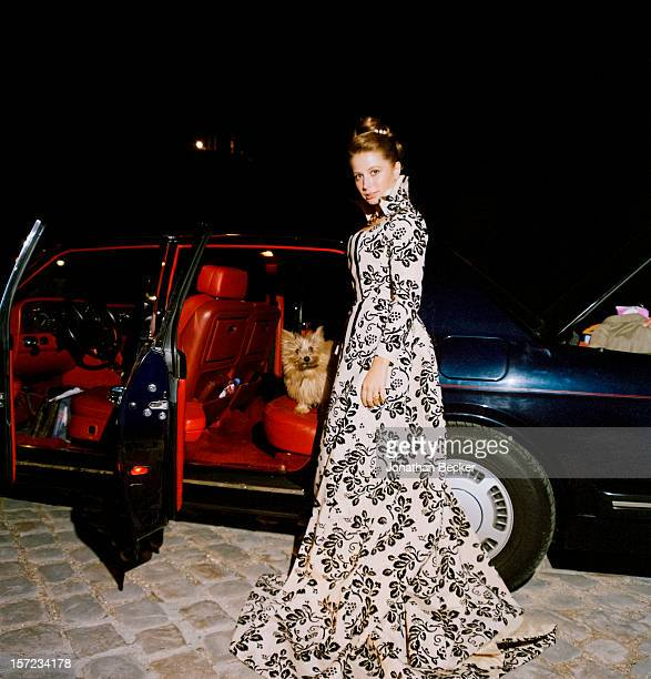 Princess Sylvie d'Arenberg is photographed for Vanity Fair Magazine on October 10 1997 after dinner on the eve of her wedding in Versailles France...