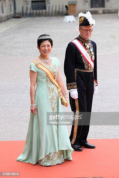Princess Takamado of Japan attends the royal wedding of Prince Carl Philip of Sweden and Sofia Hellqvist at The Royal Palace on June 13, 2015 in...