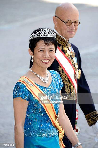 Princess Takamado of Japan attends the wedding of Princess Madeleine of Sweden and Christopher O'Neill hosted by King Carl Gustaf XIV and Queen...