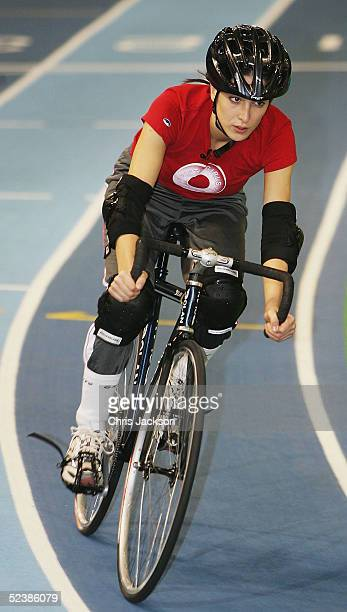 Princess Tamara Czartoryski-Borbon, cousin of the King of Spain, in action at a cycling training session ahead of the new series of the reality TV...