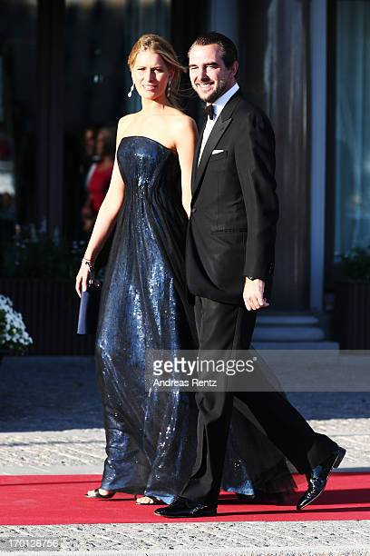 Princess Tatiana of Greece and Prince Nikolaos of Greece arrive at a private dinner on the eve of the wedding of Princess Madeleine and Christopher...