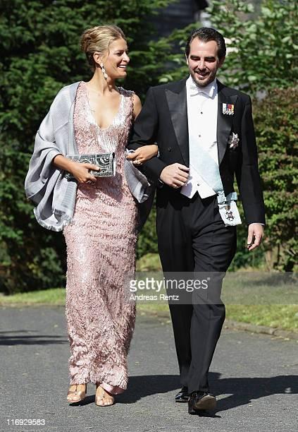 Princess Tatiana of Greece and Prince Nikolaos of Greece arrive for the wedding of Princess Nathalie zu SaynWittgensteinBerleburg and Alexander...