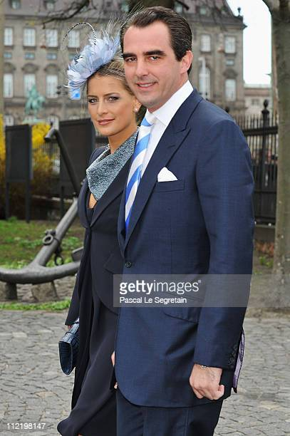 Princess Tatiana of Greece and Prince Nikolaos of Greece arrive to attend the christening of Crown Prince Frederik of Denmark's twins at Holmens...