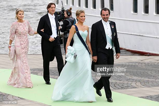 Princess Tatiana of Greece and Prince Nikolaos of Greece depart for the travel by boat to Drottningholm Palace for dinner after the wedding of...