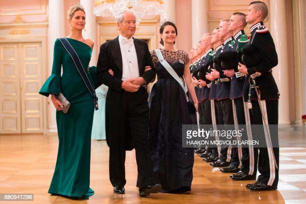 Princess Tatiana of Greece Princess Sofia of Sweden and Bernhard Mach arrive for a gala dinner at the Royal Palace in Oslo Norway on May 9 2017 to...
