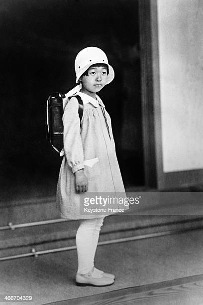 Princess Teruko, daughter of the Japanese Emperor, went to school for the first time on April 27, 1932 in Tokyo, Japan.