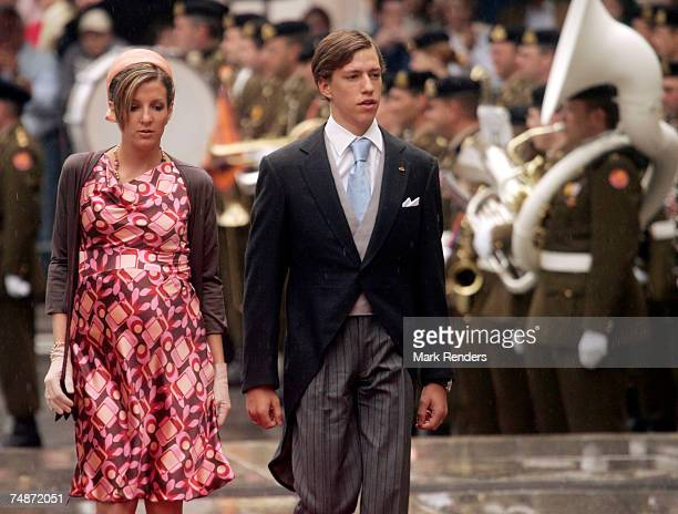 Princess Tessy and Prince Louis of the Luxembourg Royal family arrive at the Notre Dame Cathedral as part of the Luxembourg National Day celebrations...