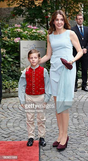 Princess Tessy of Luxembourg and Prince Gabriel of Luxembourg arrive at the Civil Wedding Of Prince Felix Of Luxembourg at Villa Rothschild Kempinski...