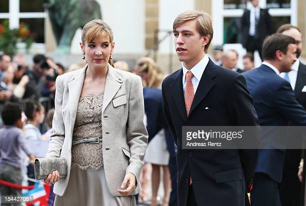 Princess Tessy of Luxembourg and Prince Louis of Luxembourg arrive during the civil ceremony for the wedding of Prince Guillaume Of Luxembourg and...