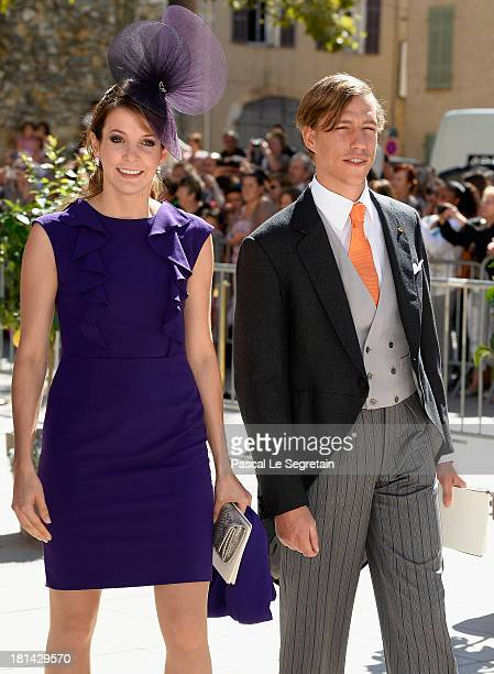 Princess Tessy Of Luxembourg and Prince Louis Of Luxembourg depart from the Religious Wedding Of Prince Felix Of Luxembourg and Claire Lademacher at...