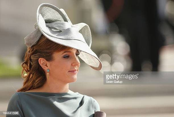 Princess Tessy of Luxembourg attends the wedding ceremony of Prince Guillaume Of Luxembourg and Princess Stephanie of Luxembourg at the Cathedral of...