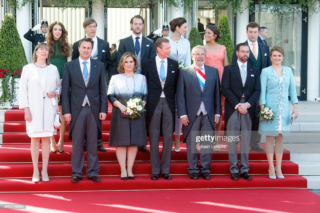Princess Tessy of Luxembourg, Prince Louis of Luxembourg, Princess Claire, Prince Felix of Luxembourg, Prince Sebastien, Princess Alexandra of Luxembourg ; (bottom L to R) guest, Xavier Bettel, Grand Duchess Maria Teresa of Luxembourg, Grand Duke Henri of Luxembourg, Mars Di Bartolomeo, Princess Stephanie, Prince Guillaume of Luxembourg celebrate National Day 2 at Philarmonie on June 23, 2016 in Luxembourg, Luxembourg.