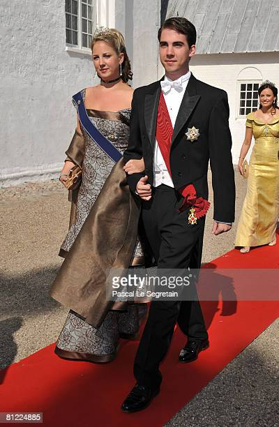 Princess Theodora and her brother Prince Nikolaos of Greece arrive to attend the wedding between Prince Joachim of Denmark and Marie Cavallier on May...
