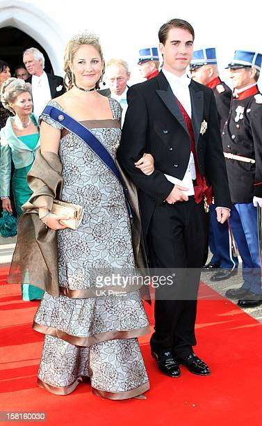 Princess Theodora And Prince Phillippos Of Greece Attend The Wedding Of Prince Joachim Of Denmark And Miss Marie Cavallier At Mogeltonder Church In...