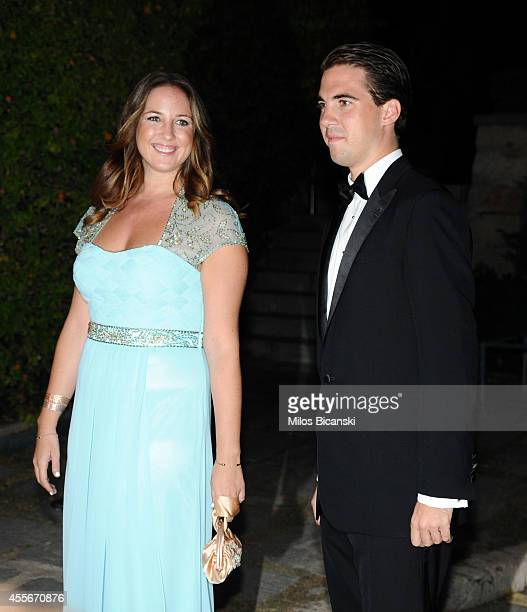 Princess Theodora of Greece and Denmark and Prince Philippos of Greece arrive for a private dinner organized by former King Constantine II of Greece...
