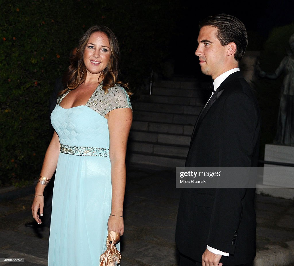 Princess Theodora (L) of Greece and Denmark and Prince Philippos of Greece arrive for a private dinner organized by former King Constantine II of Greece and former Queen Anne-Marie to celebrate their Golden wedding anniversary at the Yacht Club of Greece in Piraeus, Greece, 18 September 2014.