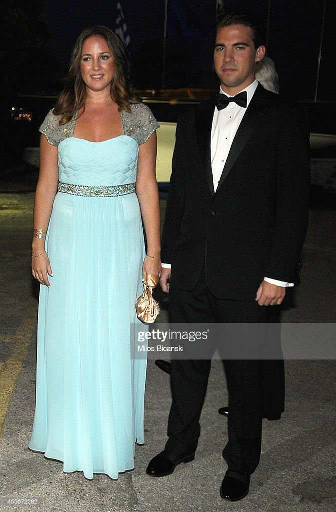 Princess Theodora of Greece and Denmark (L) and Prince Philippos of Greece arrive for a private dinner organized by former King Constantine II of Greece and former Queen Anne-Marie to celebrate their Golden wedding anniversary at the Yacht Club of Greece in Piraeus, Greece, 18 September 2014.
