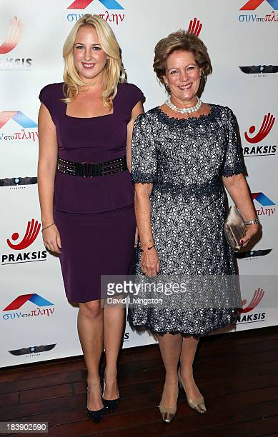 Princess Theodora of Greece and Denmark and Queen AnneMarie of Greece attend the Philhellenes Gala at SkyBar at the Mondrian Los Angeles on October 9...