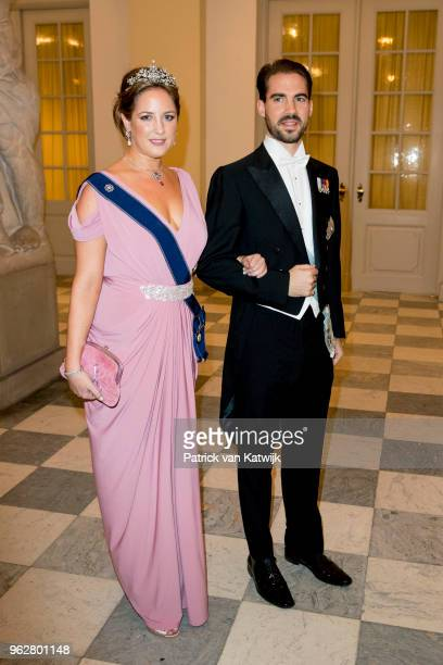 Princess Theodora of Greece and Philippos of Greece during the gala banquet on the occasion of The Crown Prince's 50th birthday at Christiansborg...