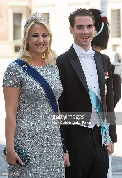 Princess Theodora of Greece and Prince Philippos of Greece attend the wedding of Princess Madeleine of Sweden and Christopher O'Neill hosted by King...