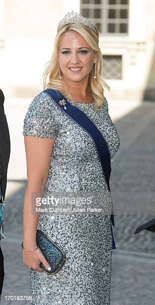 Princess Theodora of Greece attends the wedding of Princess Madeleine of Sweden and Christopher O'Neill hosted by King Carl Gustaf and Queen Silvia...