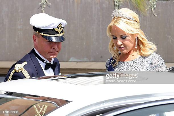 Princess Theodora of Greece departs The Grand Hotel to attend the wedding of Princess Madeleine of Sweden and Christopher O'Neill hosted by King Carl...