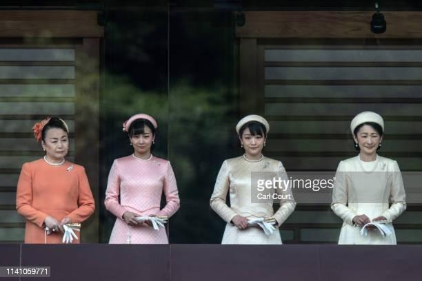 Princess Tomohito of Mikasa Princess Kako Princess Mako and Princess Kiko listen as Emperor Naruhito of Japan makes his first public speech from the...