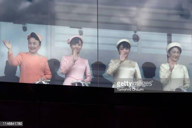 Princess Tomohito of Mikasa, Princess Kako, Princess Mako and Princess Kiko wave from the balcony of the Imperial Palace on May 04, 2019 in Tokyo,...