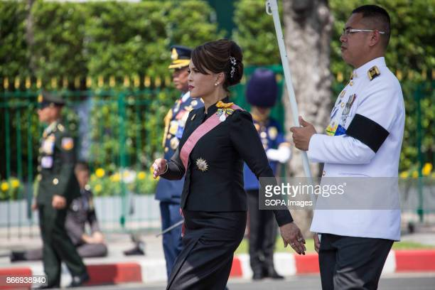 Princess Ubolratana is seen as she attend Thailand's Late King Bhumibol Adulyadej's ashes and relics to be taken to the Dusit Maha Prasat Throne Hall...