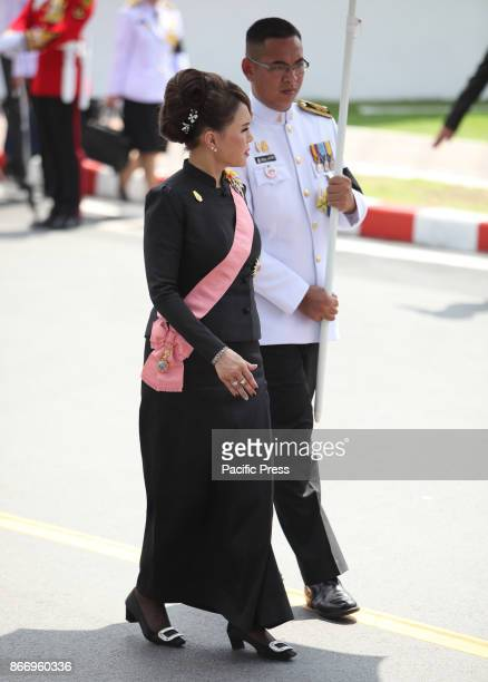 Princess Ubolratana Rajakanya join a procession to transfer His Majesty the late King Bhumibol Adulyadejs royal relics and ashes from the royal...