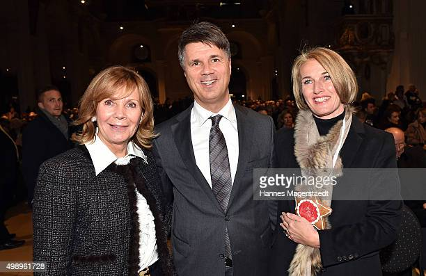 Princess Ursula von Bayern CEO BMW Harald Krueger and Martina Krueger during the 20th BMW advent charity concert at Jesuitenkirche St Michael on...