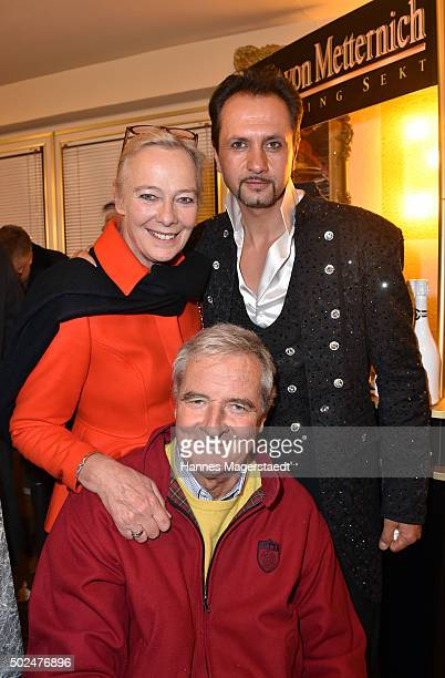 Princess Uschi zu Hohenlohe Prince Peter zu Hohenlohe and Redy Montico during the 'Circus Krone Christmas Show 2015' at Circus Krone on December 25...