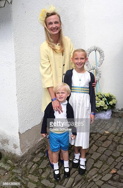 Princess Vanessa SaynWittgenstein with her children Selina and Louis during the wedding of Prince Maximilian zu SaynWittgensteinBerleburg and...