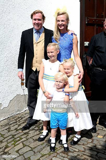 Princess Vanessa zu SaynWittgenstein with her children Selina and Louis and her husband Pieter Haitsma Mulier during the wedding of Prince Maximilian...