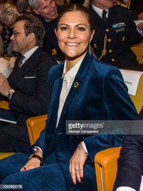 Princess Victoria and Prince Daniel of Sweden arrives at the Generation Pep Pep Forum 2018 at the Karolinska Institute on October 24 2018 in...