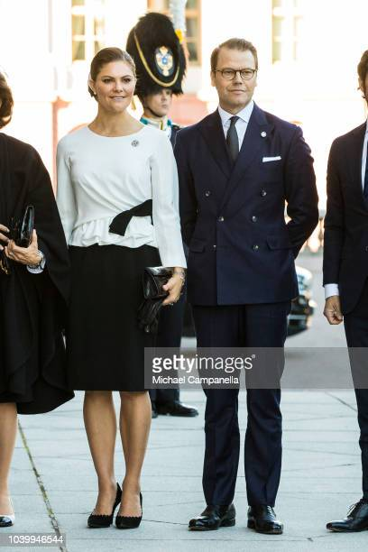Princess Victoria and Prince Daniel of Sweden pose for a picture before the opening parliamentary session at the Riksdag parliamentary house on...
