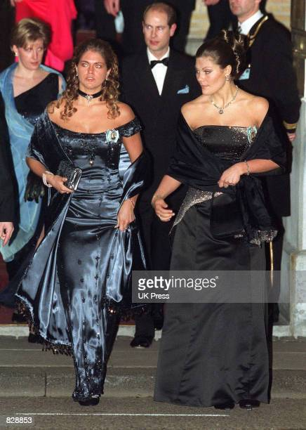 Princess Victoria and Princess Madeleine of Sweden attend a dinner and party at the Royal Palace in honor of the wedding of Dutch Crown Prince...