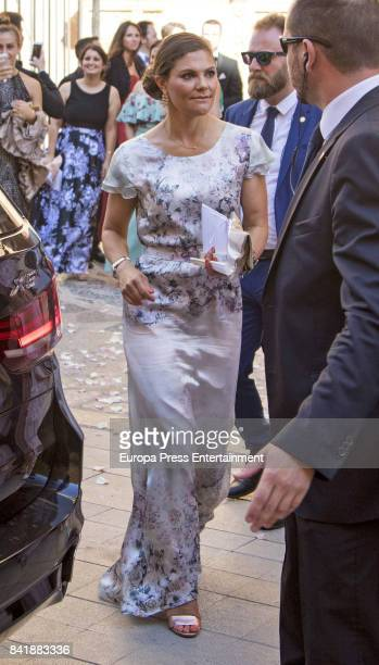 Princess Victoria from Sweden attends Helena Christina Sommerlath and Ian Martin's wedding at Mallorca cathedral on August 5 2017 in Palma de...