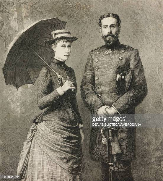 Princess Victoria of HesseDarmstadt and her fiance Prince Louis of Battenberg illustration from the magazine The Graphic volume XXIX no 736 January 5...