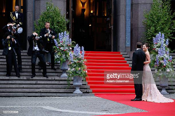 Princess Victoria Of Sweden and fiance Daniel Westling attend the Government Gala Performance for the Wedding of Crown Princess Victoria of Sweden...
