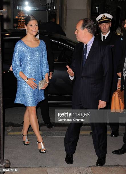 Princess Victoria of Sweden and French Minister of Culture Frederic Mitterrand attends the Dinner at French Ministry of Culture at Ministere de la...