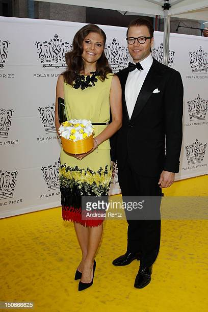 Princess Victoria of Sweden and Prince Daniel arrive for the Polar Music Prize at Konserthuset on August 28, 2012 in Stockholm, Sweden.