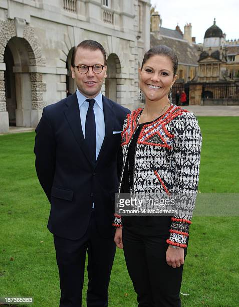 Princess Victoria of Sweden and Prince Daniel of Sweden at Kings College, Cambridge University during an official visit on November 8, 2013 in...