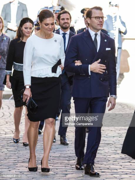 Gustav Fridolin and Isabella Lovin leaders of the Green Party attend a church service at the Stockholm Cathedral in connection with the opening of...