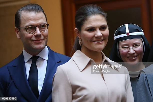Princess Victoria of Sweden and Prince Daniel of Sweden visit The Birgitta Sisters in Rome at the convent Church of Santa Brigida on December 15 2016...