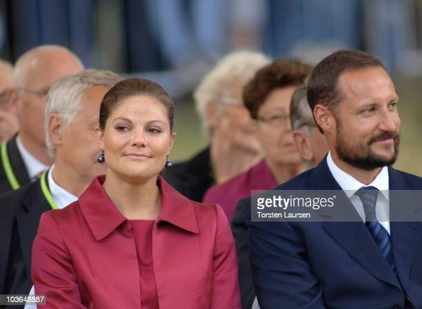 Princess Victoria of Sweden and Prince Haakon of Norway attend to unveil a monument in memory of 'White Buses' at Ramlosa Brunnspark on August 26...