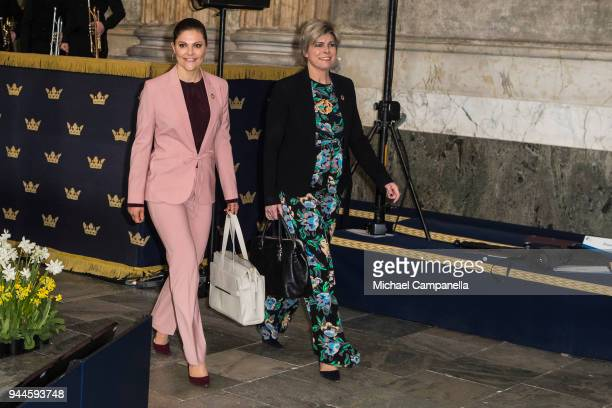 Princess Victoria of Sweden and Princess Laurentien of the Netherlands attend the Global Child Forum 2018 at the Stockholm Palace on April 11 2018 in...