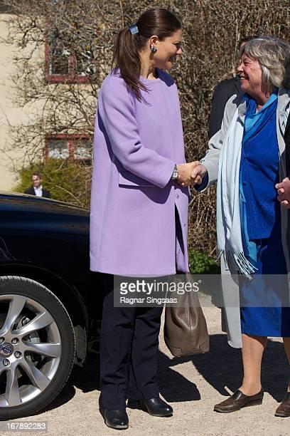 Princess Victoria of Sweden arrives at Lacko castle in The Vastra Gotaland Province Of Sweden on May 2 2013 in Lidkoping Sweden