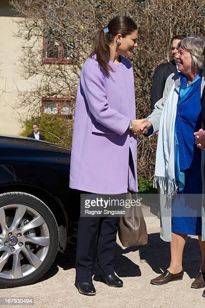 Princess Victoria of Sweden arrives at Lacko castle in the Vastra Gotaland province on May 2 2013 in Lidkoping Sweden