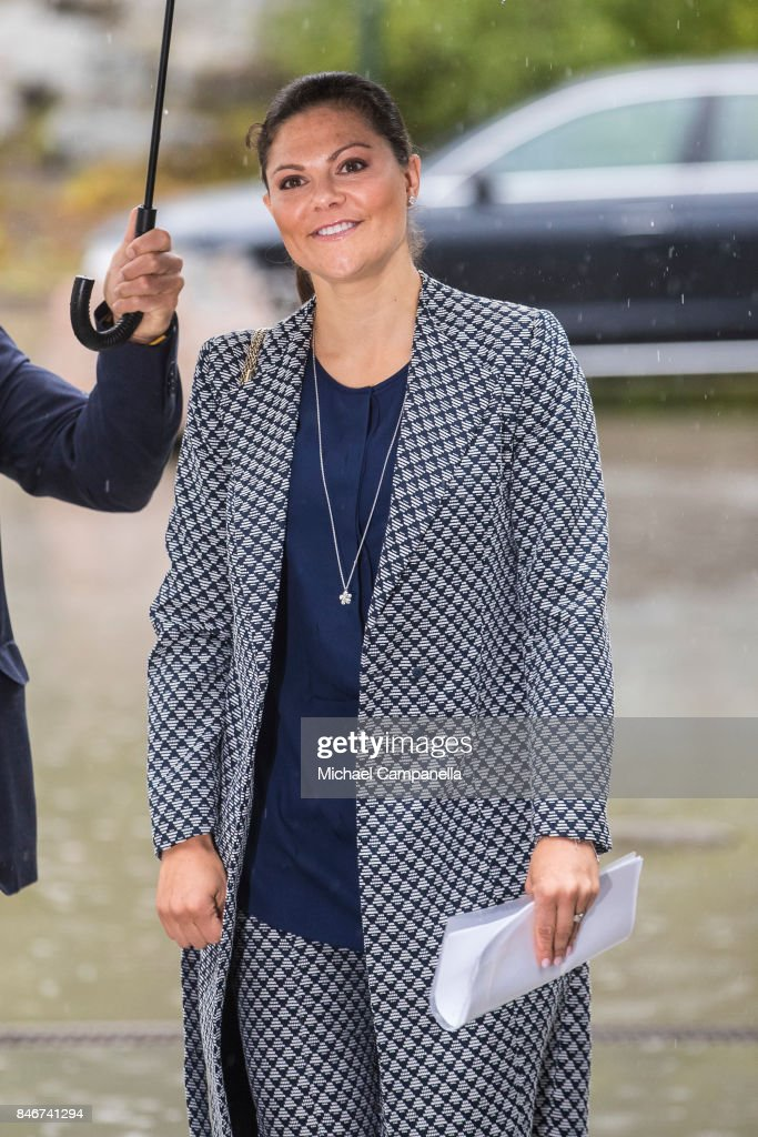 Princess Victoria of Sweden arrives at the 2017 Stockholm Security Conference at Artipelag on September 14, 2017 in Stockholm, Sweden.